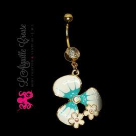 Bijou de nombril Fleur plaqué or 14 carats