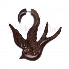 Boucle d'oreille  Hirondelle en bois sculptée