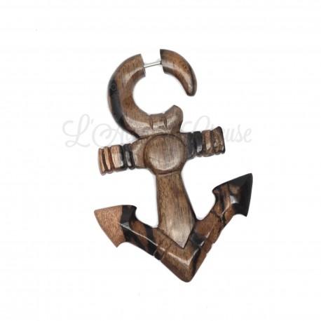 Boucle d'oreille Ancre en bois sculptée