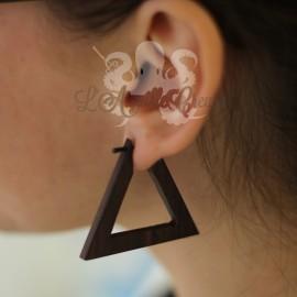 Paire de boucles d'oreilles en bois triangulaires