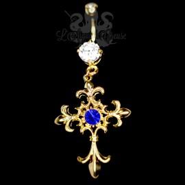 Bijou de nombril Croix plaqué or 14 carats