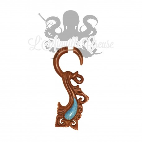 Boucle d'oreille en bois sculptée & incrustation de turquoise