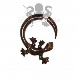 Paire de boucle d'oreille Salamandre en bois sculptée