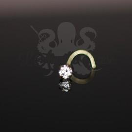 Stud Or jaune 14 carats, orné d'un zircon rond