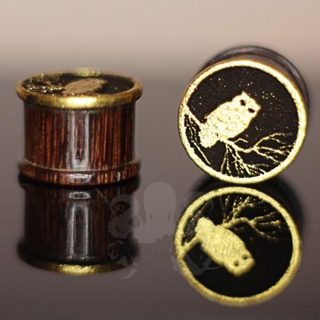 Plug hibou en bois doré à l'or fin