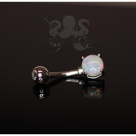 Bijou de nombril en Or blanc 14 carats et Opale synthétique