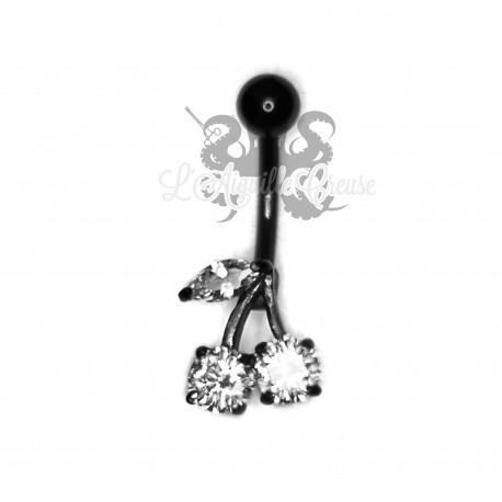 Bijou de nombril Cerises anodisé noir