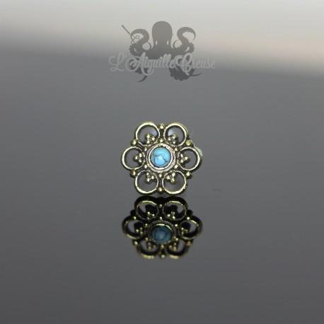 Accessoire en bronze Fleur & turquoise clipable
