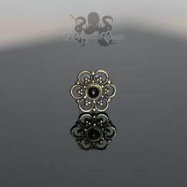 Accessoire en bronze Fleur & onyx clipable
