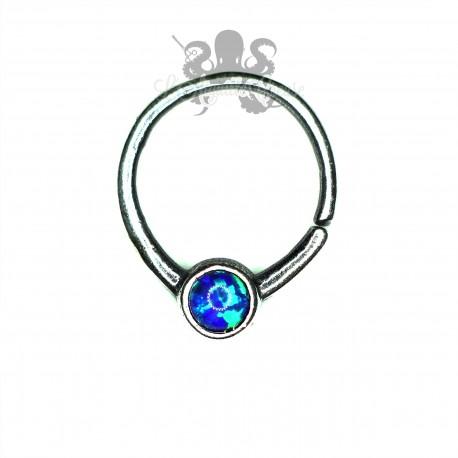 Anneau en argent 925 et opale synthétique