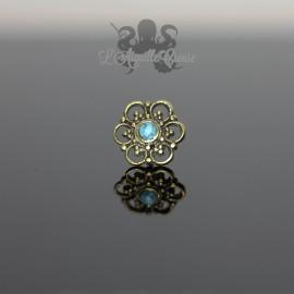 Stud Fleur en bronze & turquoise