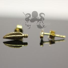 Paire de boucles d'oreilles Plume en bronze