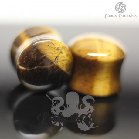Paire de plugs en Oeil de tigre  - Diablo Organics