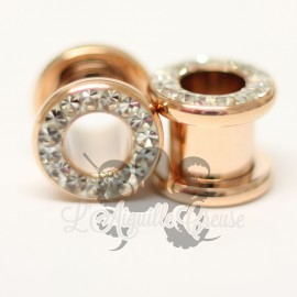 Tunnel pvd rose gold orné de strass blanc