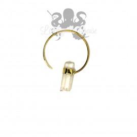 Boucle d'oreille / Accessoire pour tunnel, en Bronze & son cristal