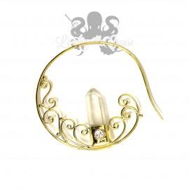 Paire de boucles d'oreille en Bronze & cristal
