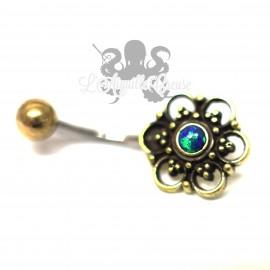 Bijou de nombril Fleur en bronze & opale synthétique