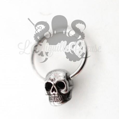Anneau en acier chirurgical 316L et crâne en bronze blanc