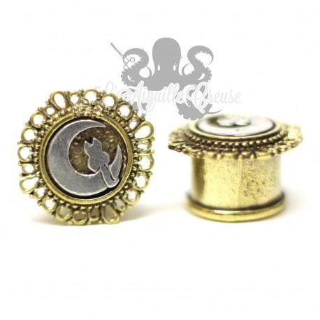 Plug Chat & lune en Bronze blanc & jaune