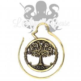 Boucle d'oreille / Accessoire pour tunnel Yggdrasil, en Bronze