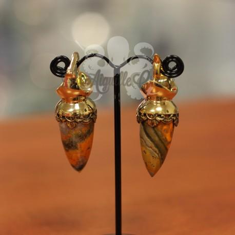 "Paire de poids ""Bumblebee"" en bronze & Jaspe bourdon"