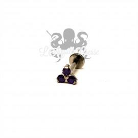 Accessoire QualiTi en titane & trio de zircons - pour 1.2 mm