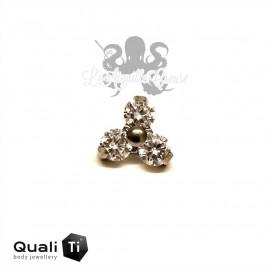 Accessoire QualiTi en titane & Maxi trio de zircons - pour 1.2 mm
