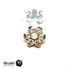 Fleur QualiTi en titane, opale synthétique & zircons