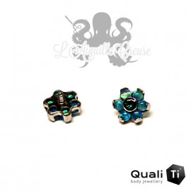 Fleur QualiTi en titane, zircon & opales synthétiques - 5 mm pour 1.2 mm