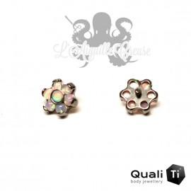 Fleur QualiTi en titane & opales synthétiques - 5 mm pour 1.2 mm