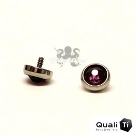 Accessoire QualiTi en zircon améthyste et titane - pour 1.2 mm