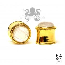 Paire de plugs pierre de lune & argent 925 plaqué or - NAGABodyJewelry