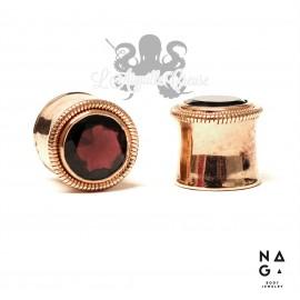 Paire de plugs en Grenat & argent 925 plaqué or rose - NAGABodyJewelry