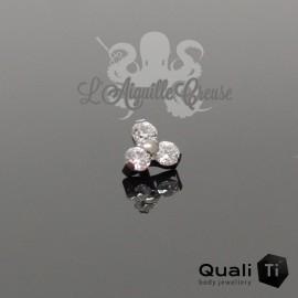 Accessoire QualiTi en titane & Maxi trio de zircons - pour 1.6 mm