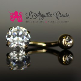 Bijou de nombril en Or 14 carats & Zircon rond