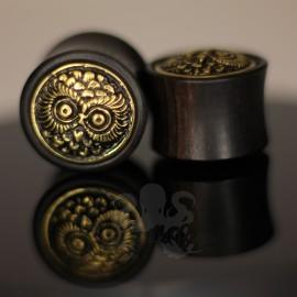 Plug hibou en bois et bronze