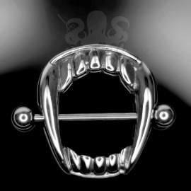 Bijou de téton morsure de vampire en fonte d'acier