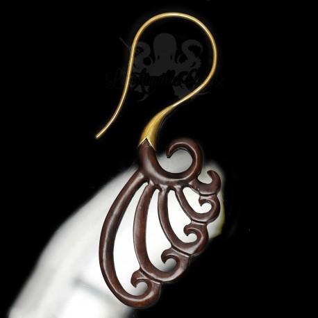 Paire de boucles d'oreilles en bronze & bois