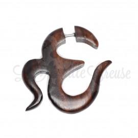 Boucle d'oreille  Ohm en bois sculptée