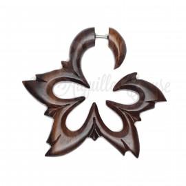 Boucle d'oreille Fleur en bois sculptée