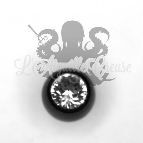 Bille strassée anodisée noir pour bijou en 1.6 mm.