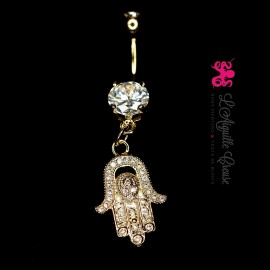 Bijou de nombril Khamsa plaqué or 14 carats