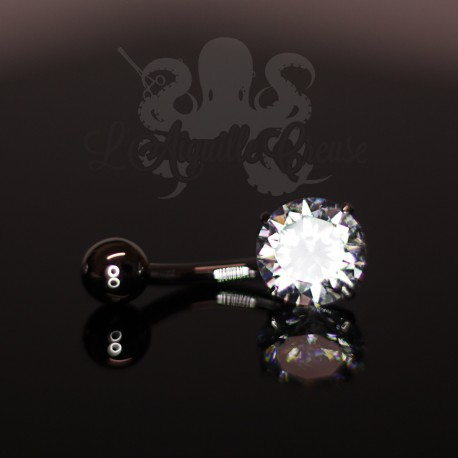 Bijou de nombril en Or  blanc 18 carats & Zircon rond