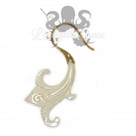 Paire de boucles d'oreilles en os & bronze