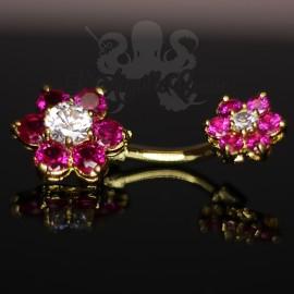 Bijou de nombril Fleurs plaqué or 18 carats