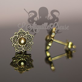 Paire de boucles d'oreilles Fleur en bronze