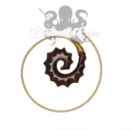 Paire de boucles d'oreilles en bronze & en bois