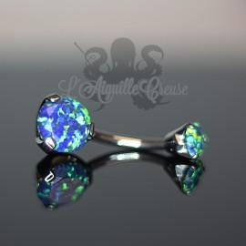 Bijou de nombril Opale & fonte d'acier