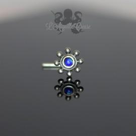 Stud en Argent 925 & opale synthétique Fleur