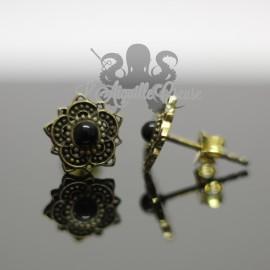 Paire de boucles d'oreilles Fleur en bronze & Onyx
